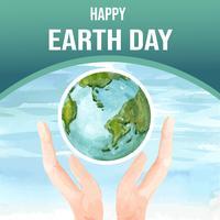 Opwarming van de aarde en vervuiling. Sociale media reclamecampagne, sparen het ontwerp van het wereldmalplaatje, het creatieve ontwerp van de waterverf vectorillustratie