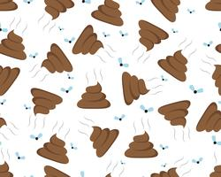 Seamless pattern of poop icon isolated on white background