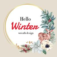 Winter floral blooming wreath frame elegant for decoration vintage beautiful, creative watercolor vector illustration design