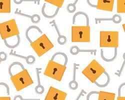 Patrón transparente de estilo plano de icono de llave y cerradura sobre fondo blanco - ilustración vectorial