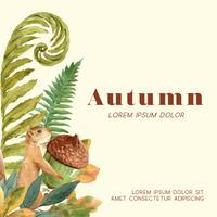 Marco de la temporada de otoño con hojas y animales. Tarjetas de felicitación de otoño perfectas para imprimir, invitación, plantilla, diseño de ilustración vectorial acuarela creativa