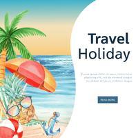 Los medios sociales viajan en vacaciones de verano a la playa Palmeras, mar, cielo y luz solar, acuarela creativa vector ilustración diseño