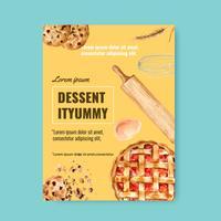 Bäckerei Plakat Vorlage. Brot- und Brötchensammlung. Selbst gemachtes, kreatives Aquarellvektor-Illustrationsdesign
