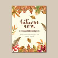 Temporada de otoño Diseño de cartel con hojas y animal. Tarjetas de felicitación de otoño perfectas para imprimir, invitación, plantilla, diseño de ilustración vectorial acuarela