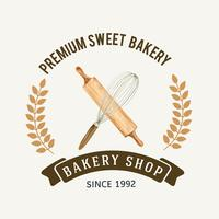 Logo symbol Bakery template. Bread and bun collection. home made , creative watercolor vector illustration design