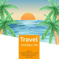 Social media Travel on Holiday summer the beach Palm tree vacation, sea and sky sunlight , creative  watercolor vector illustration design