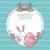 Happy easter round frame with cartoons