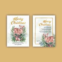 Hiver floral floraison carte d'invitation de mariage élégant pour la décoration vintage belle, créatif aquarelle vector illustration design