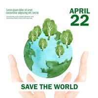 Opwarming van de aarde en vervuiling. Affichevliegerbrochure reclamecampagne, sparen het ontwerp van het wereldmalplaatje, het creatieve ontwerp van de waterverf vectorillustratie