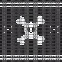 Knitted skull with bones, sweater for halloween and christmas