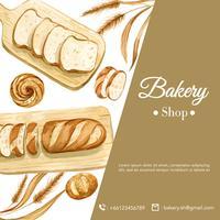 Plantilla de redes sociales de panadería. Recolección de pan y pan. Hecho en casa, diseño de ilustración vectorial acuarela creativa vector