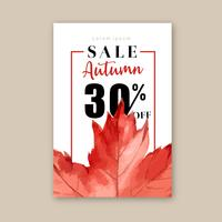 Autumn season frame with leaves and animal. Autumn greetings cards perfect for print ,invitation, template , creative watercolor vector illustration design