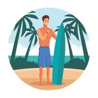 Hombre joven en dibujos animados de playa