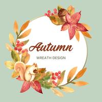Autumn season wreath frame with leaves and animal. Autumn greetings cards perfect for print ,invitation, template , creative watercolor vector illustration design