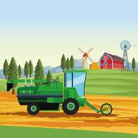 Farm seeding tractor vector