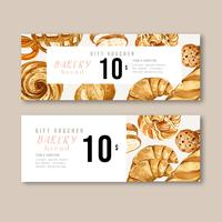 Bakery Gift voucher template. Bread and bun collection. home made , creative watercolor vector illustration design