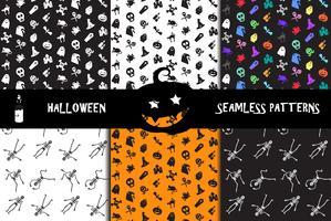 Conjunto de padrões sem emenda de ícones de Halloween