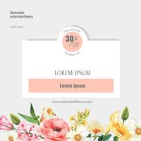 Spring social media frame fresh flowers, decor card with floral colorful garden, wedding, invitation, watercolor vector illustration design