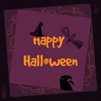 Halloween affisch, ljusa baner, gratulationskort i grungestil