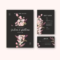 Happy Wedding card floral garden invitation card marriage, rsvp detail. space layout vintage ornament beautiful ,  watercolor vector illustration template collection design