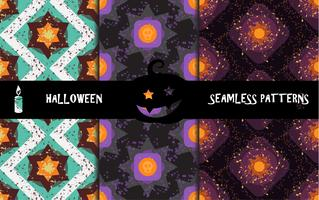 Grunge colorful halloween geometric seamless patterns