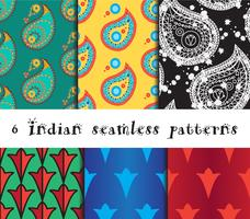 Seamless indian patterns set
