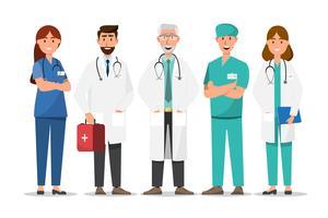 Satz von Arzt Comic-Figuren. Teamkonzept des medizinischen Personals im Krankenhaus