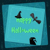 Halloween-Plakat, helle Fahne, Grußkarte in der Schmutzart