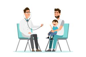 doctor listens to breathing statoscope for kid who sit on his father's lap