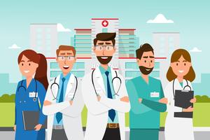 Set of doctor cartoon characters. Medical staff team concept in front of  hospital