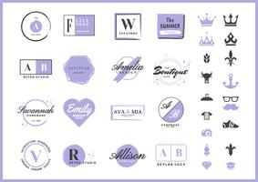 feminine Retro Vector Logo for banner