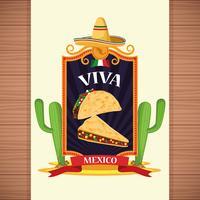 Viva mexico tarjeta de dibujos animados