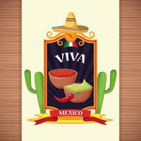 Viva mexico card cartoons vector