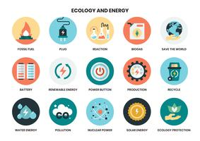 energy icons set for business