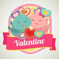 cute valentine badge with couple bird