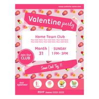 cute valentine party poster with buttercup pattern vector