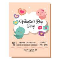 niedliche Valentinsgruß-Party Einladung mit Liebesvogelpaaren