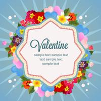 happy valentine with love and flower vector