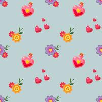 flat style happy valentines day pattern with love potion