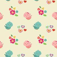 cute couple bird valentine pattern vector