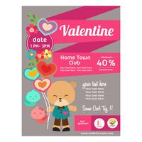 cute flat style valentine poster with panda bear vector