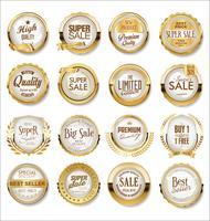 Golden super sale labels  vector