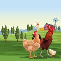 Chickens and rooster over landscape vector