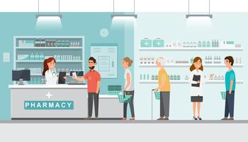pharmacy with pharmacist and client in counter vector