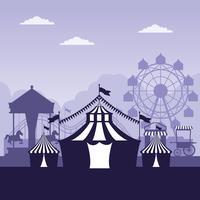 Blauwe en witte kleuren van het circusfestival de eerlijke landschap