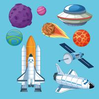 Spaceships planets and satellite icons
