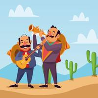 Mexicans celebrating in desert vector