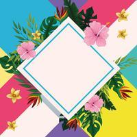 Cadre de diamant d'été avec des fleurs tropicales