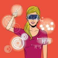 Donna che usando i vetri di realtà virtuale
