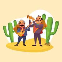 Mexicans celebrating in desert